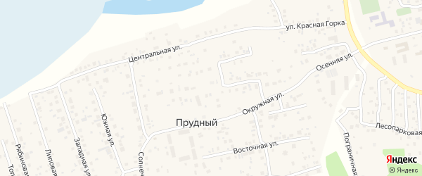 Весенняя улица на карте Прудного поселка с номерами домов