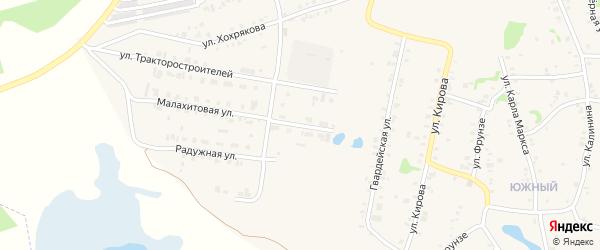 Малахитовый переулок на карте Зауральского поселка с номерами домов