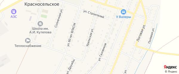Уральская улица на карте Красносельского села с номерами домов