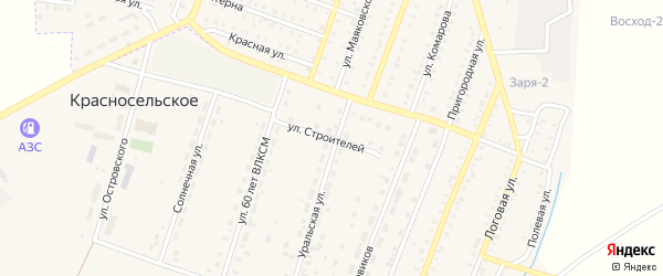 Улица Строителей на карте Красносельского села с номерами домов