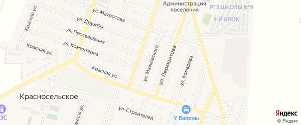 Улица Маяковского на карте Красногорского поселка с номерами домов