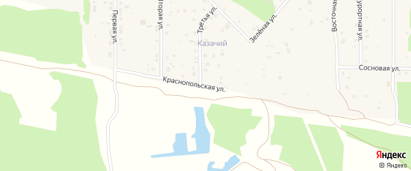 Краснопольская улица на карте деревни Моховички с номерами домов