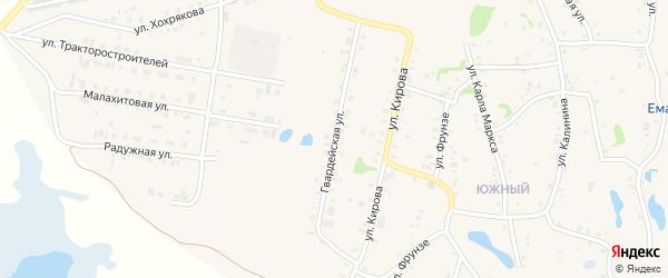 Гвардейская улица на карте Зауральского поселка с номерами домов