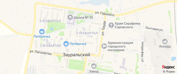 1-й квартал на карте Зауральского поселка с номерами домов