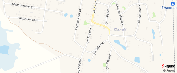 Улица Кирова на карте Зауральского поселка с номерами домов