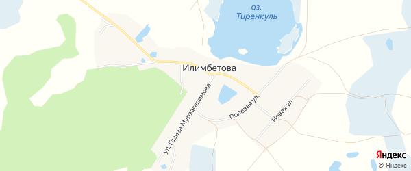 Карта деревни Илимбетова в Челябинской области с улицами и номерами домов