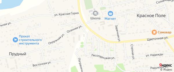Лесопарковая улица на карте поселка Красного Поля с номерами домов