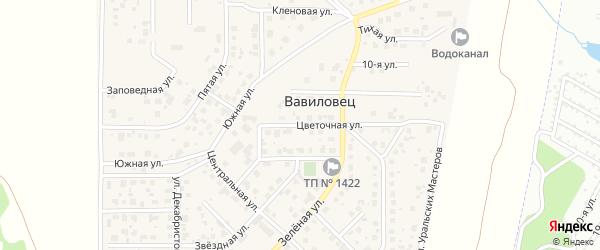Цветочная улица на карте поселка Вавиловца с номерами домов
