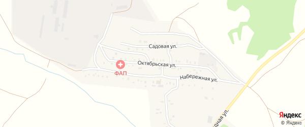Октябрьская улица на карте деревни Водопойки с номерами домов