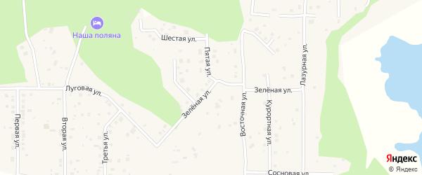 Зеленая улица на карте деревни Моховички с номерами домов