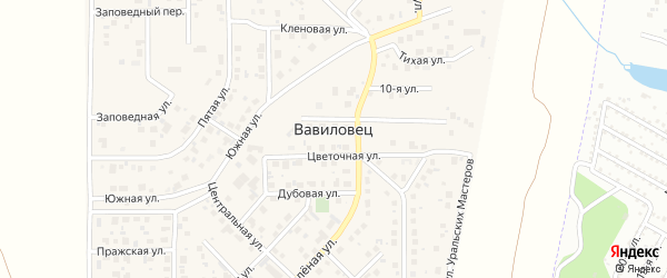 Набережная улица на карте поселка Вавиловца с номерами домов