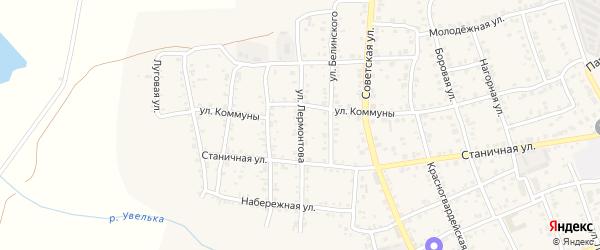Улица Лермонтова на карте Южноуральска с номерами домов