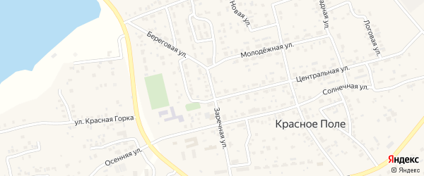 Заречная улица на карте поселка Красного Поля с номерами домов