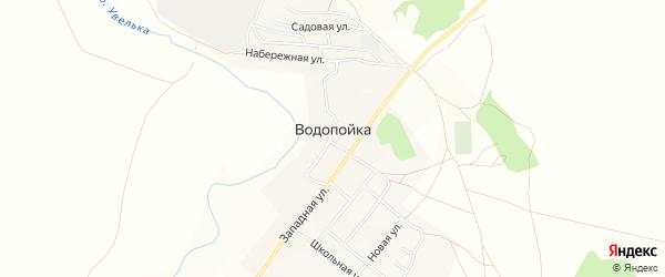 Карта деревни Водопойки в Челябинской области с улицами и номерами домов