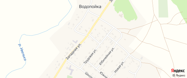 Восточный переулок на карте деревни Водопойки с номерами домов