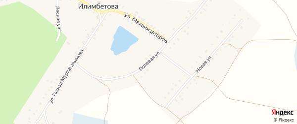 Полевая улица на карте деревни Илимбетова с номерами домов