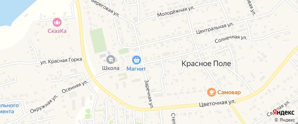 Солнечная улица на карте поселка Красного Поля с номерами домов