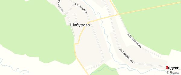 Карта села Шабурово в Челябинской области с улицами и номерами домов
