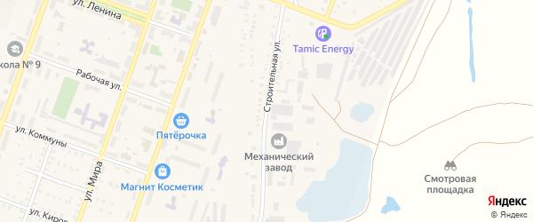 Строительная улица на карте Красногорского поселка с номерами домов