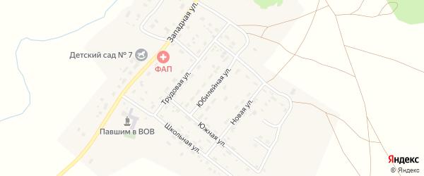 Юбилейная улица на карте деревни Водопойки с номерами домов