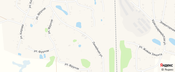 Линейная улица на карте Зауральского поселка с номерами домов