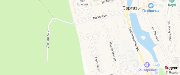 Радужный переулок на карте поселка Саргазы с номерами домов
