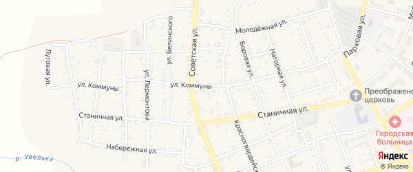 Улица Коммуны на карте Южноуральска с номерами домов