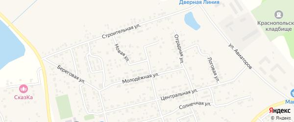 Молодежный переулок на карте поселка Красного Поля с номерами домов