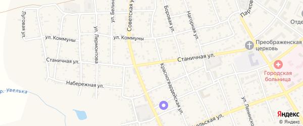 Станичная улица на карте Южноуральска с номерами домов