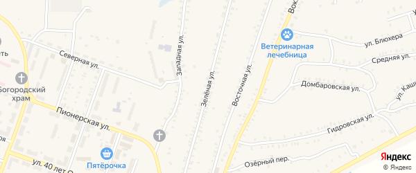 Зеленая улица на карте Красногорского поселка с номерами домов