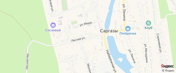 Лесная улица на карте поселка Саргазы с номерами домов