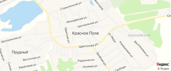 Карта поселка Красного Поля в Челябинской области с улицами и номерами домов
