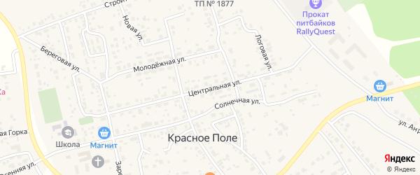 Центральная улица на карте поселка Красного Поля с номерами домов