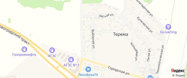 Выборная улица на карте поселка Терема с номерами домов