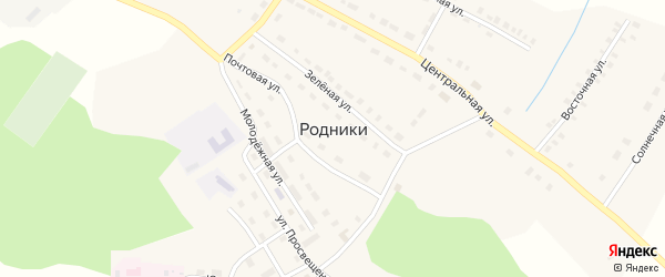 Почтовая улица на карте поселка Родники с номерами домов