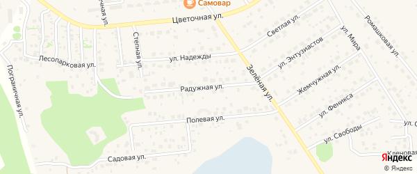 Радужная улица на карте поселка Красного Поля с номерами домов
