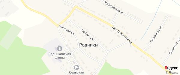 Зеленая улица на карте поселка Родники с номерами домов