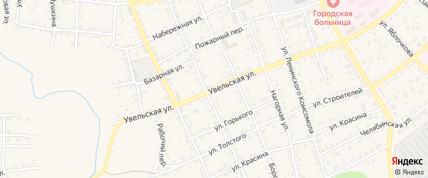 Увельская улица на карте Южноуральска с номерами домов
