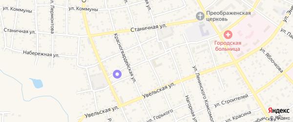 Пожарный переулок на карте Южноуральска с номерами домов