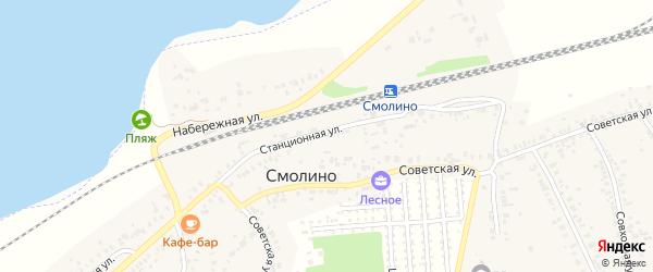 Сосновый переулок на карте поселка Смолина ж-д. ст. с номерами домов