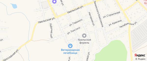 Улица Толстого на карте Южноуральска с номерами домов