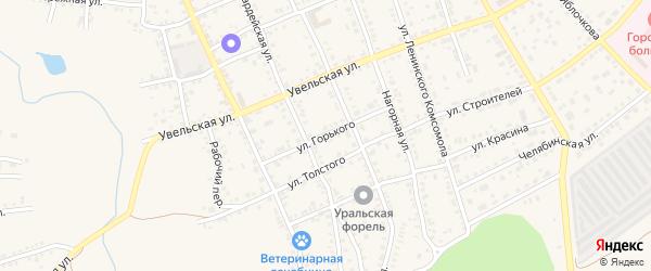 Улица Горького на карте Южноуральска с номерами домов