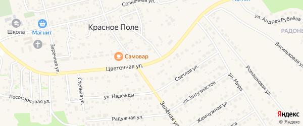Цветочная улица на карте поселка Красного Поля с номерами домов