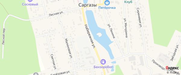 Набережная улица на карте поселка Саргазы с номерами домов