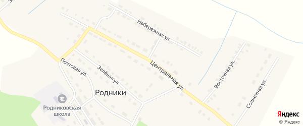 Центральная улица на карте поселка Родники с номерами домов