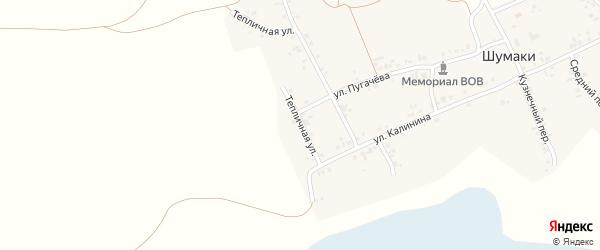 Тепличная улица на карте деревни Шумаки с номерами домов