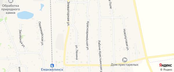 Красноармейская улица на карте Зауральского поселка с номерами домов