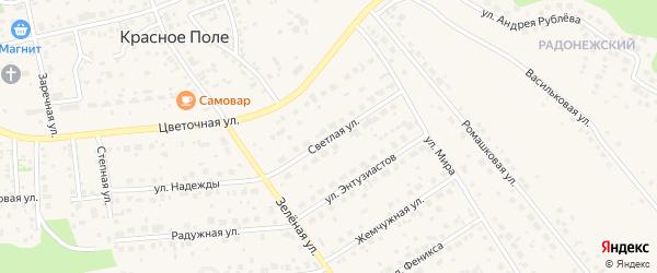 Светлая улица на карте поселка Красного Поля с номерами домов