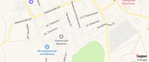 Улица Красина на карте Южноуральска с номерами домов