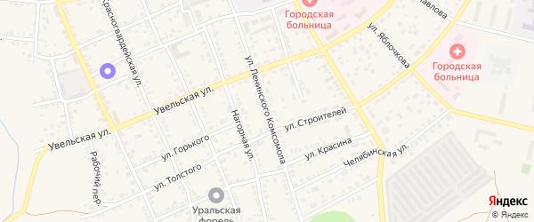 Улица Ленинского Комсомола на карте Южноуральска с номерами домов